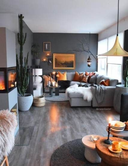 17 Ideas Living Room Grey Couch Orange Accent Walls In 2020