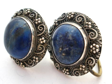 Blue Dyed Sapphire Sterling Silver Overlay 6 Grams Earring 2 Gorgeous Handmade Jewelry