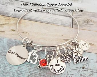 13th Birthday Girl Birthday Gift For 13 Year Old Girl Etsy Birthday Gifts For Girls Birthday Jewelry Gift Girls Personalized Gifts