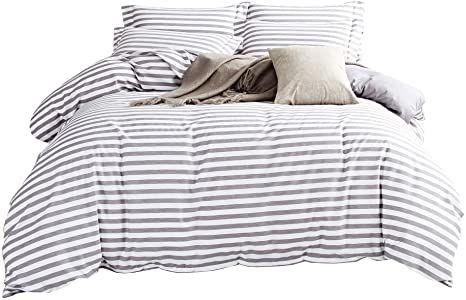 Duvet Cover Set Striped Duvet Cover Contrast 2 Tone Reversible Comforter Cover Zipper Closure Bed Line In 2021 Striped Duvet Covers Duvet Cover Sets White Duvet Covers