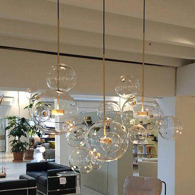 Glass Pendant Light, Indoor Lighting, Chandelier In Living Room, Art Deco Chandelier, Bubble Lamps, Glass Ball Pendant Lighting, Bubble Chandelier, Chandelier Art, Led Pendant Lights