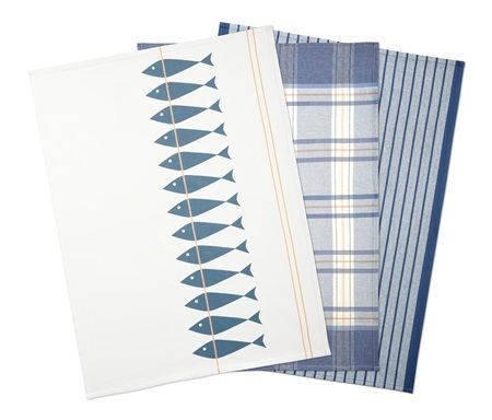 Shop Tchibo Dish Towels Set Of 3 Blue Offwhite For Home Living In United Arab Emirates Brands For Less