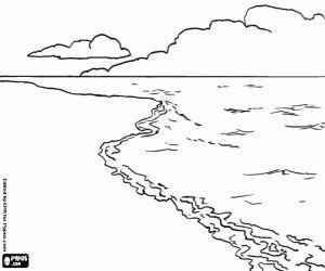 Desenho De Paisagem Com Praia Mar E As Nuvens Para Colorir Em
