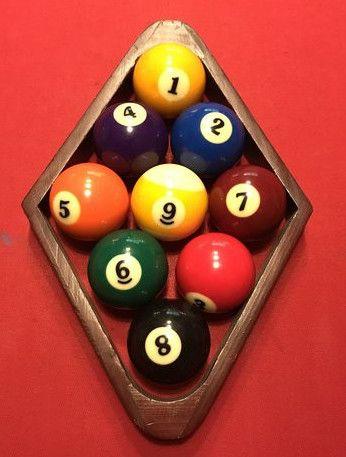 9 BALL POOL HALL Sign Metel vintage Table billiard Ball cue rack
