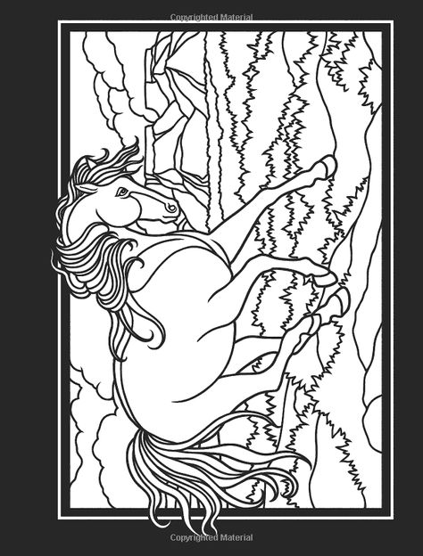 wild horses stained glass coloring book dover nature