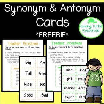 Synonym And Antonym Cards Synonyms And Antonyms Antonym