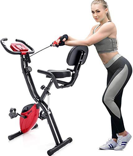 New Merax 3 In 1 Adjustable Folding Exercise Bike Convertible Magnetic Upright Recumbent Bike With Arm Ban Recumbent Bike Workout Biking Workout Exercise Bikes
