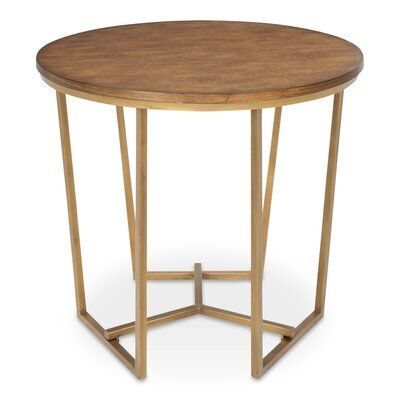 Everly Quinn Denison Round Wood And Metal End Table Metal End