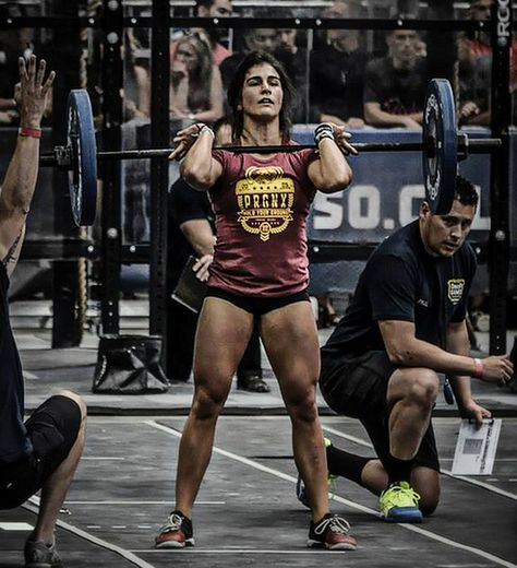 CrossFit competition Lauren Fisher red tee black pro shorts shoes Reebok Nanos 3.0 weightlifting