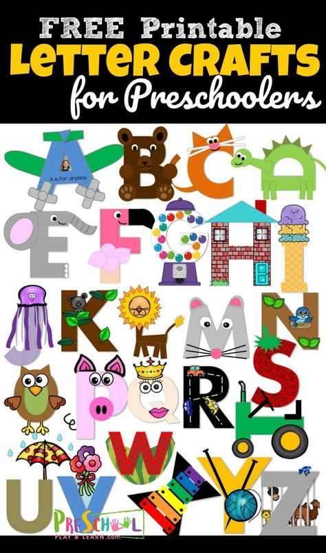 26 adorable alphabet crafts to make to practice uppercase letter recognition. adorable alphabet crafts to make to practice uppercase letter recognition. These letter crafts are NO PREP as you just print, color, cut, and Preschool Letter Crafts, Alphabet Letter Crafts, Abc Crafts, Letter Activities, Alphabet Book, Preschool Curriculum, Uppercase Alphabet, Free Printable Alphabet Letters, Homeschooling