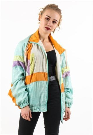 Vintage Retro Windbreaker Zipup Anorak Jacket Blue Orange Street 90s 80s Tracksuit Vintage Windbreaker Jacket Retro Windbreaker Windbreaker Outfit
