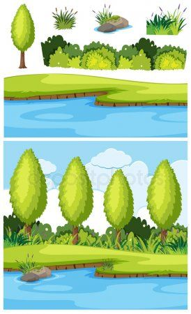 Nature Landscape Of Park And River Stock Vector Ad Park Landscape Nature Vector Ad Landscape Art Inspiration Painting Nature