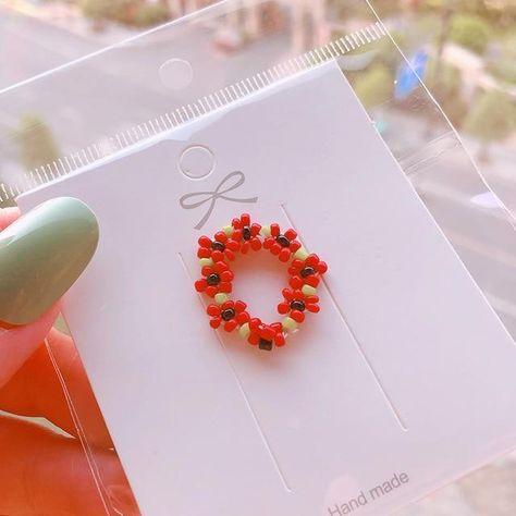 HZ 2019 Colorful Resin Flower Elastic Weaving  Fashion Finger Rings Korea Fashion Hit Color Beads Handmade Rings for Women Girls - 8
