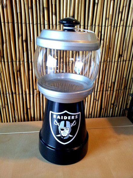 Oakland Raiders Logo Gumball Machine Candy Jar.. I made one of these for my love for Christmas back in 2001.