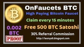 OnFaucet, Claim Free 400 to 500 BTC Satoshi every 15 minutes