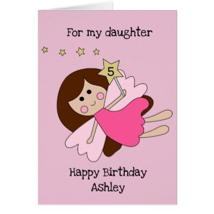 Pink Cute Fairy Girl 5th Birthday Daughter Card Birthday Cards