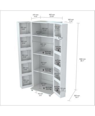 This pantry/storage cabinet has a functional modern design that is an excellent choice for your home or office break room. It features 2 doors with chrome metal handles, each with 5 interior shelves.