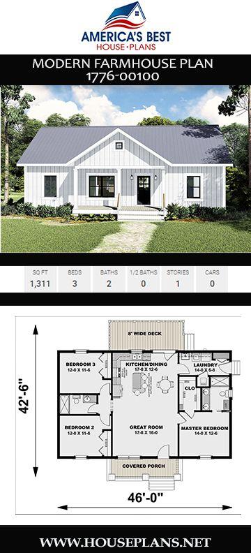 House Plan 1776 00100 Modern Farmhouse Plan 1 311 Square Feet 3 Bedrooms 2 Bathrooms Modern Farmhouse Plans House Plans Farmhouse Dream House Plans