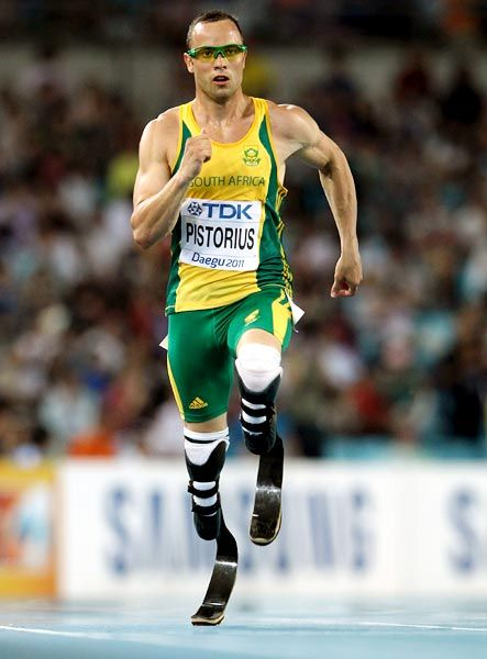 "Oscar Pistorius - is a South African sprint runner. Known as the ""Blade Runner"" and ""the fastest man on no legs"", Pistorius, who has a double amputation, is the world record holder in the 100, 200 and 400 metres events and runs with the aid of Cheetah Flex-Foot carbon fibre transtibial artificial limbs"