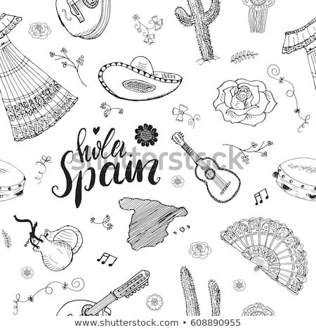 Map Of Spain Drawing.Spain Seamless Pattern Doodle Elements Hand Drawn Sketch Spanish
