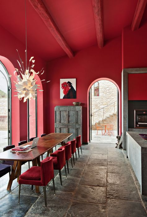 Fall 2016 2017 Color Trends According To Pantone: Aurora Red | Interior Design Inspiration. Decorating Ideas. #colors #interiordesign #pantone Read more: https://www.brabbu.com/en/inspiration-and-ideas/trends/fall-winter-2016-2017-color-trends-according-pantone