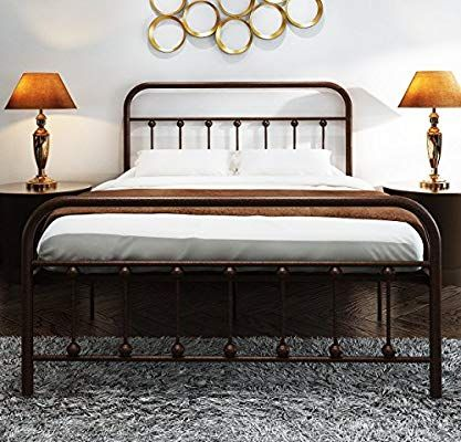 Amazon Com Temmer Metal Bed Frame Queen Size With Headboard And Footboard Single Platform Mattress Ba Full Bed Frame Full Size Bed Frame Queen Size Bed Frames