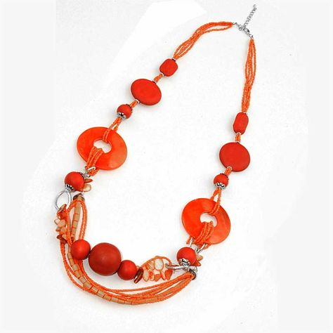 Orange Wood & Pearl Necklace