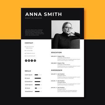 Curriculum Template With Flat Design Cv Kreatif Desain Cv Desain