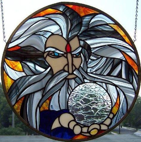 Wizard /& Ball Stained Glass Suncatcher