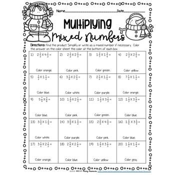 Multiplying Mixed Numbers Color By Number Winter Theme Multiplying Mixed Numbers Mixed Numbers Fraction Activities
