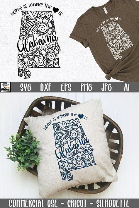 Alabama Mandala SVG File - Home is Where the Heart Is SVG (778131) | SVGs | Design Bundles