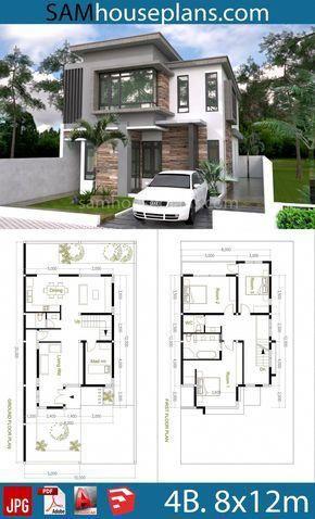House Plans 8x12m With 4 Bedrooms Sam House Plans Modernhomedesigns Desain Rumah 2 Lantai Tata Letak Rumah Desain Rumah Eksterior