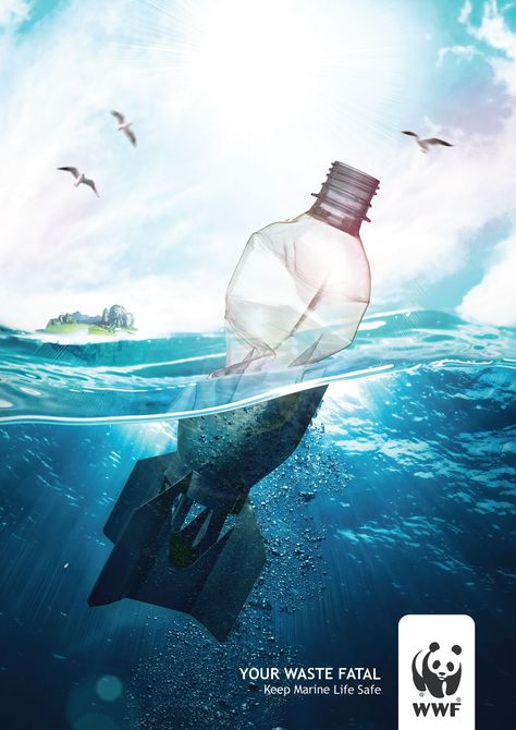 Publicité - Creative advertising campaign - WWF: Your waste fatal. Keep marine life safe
