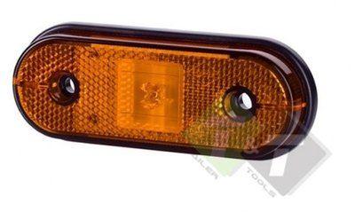 Zijmarkeringslamp Contourlamp Ovaal Model 17mm Hoog Langwerpig Oranje 12 Tot 24 Volt Paardentrailer Aanhangwagens Dekzeil