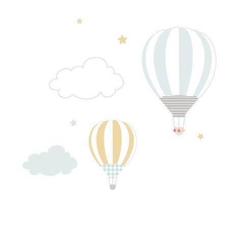 Deux jolies montgolfières s'élevant dans les nuages et les étoiles, une illustration délicate et poétique pour une douce manière de dire merci à vos proches. Avec cette carte, ...