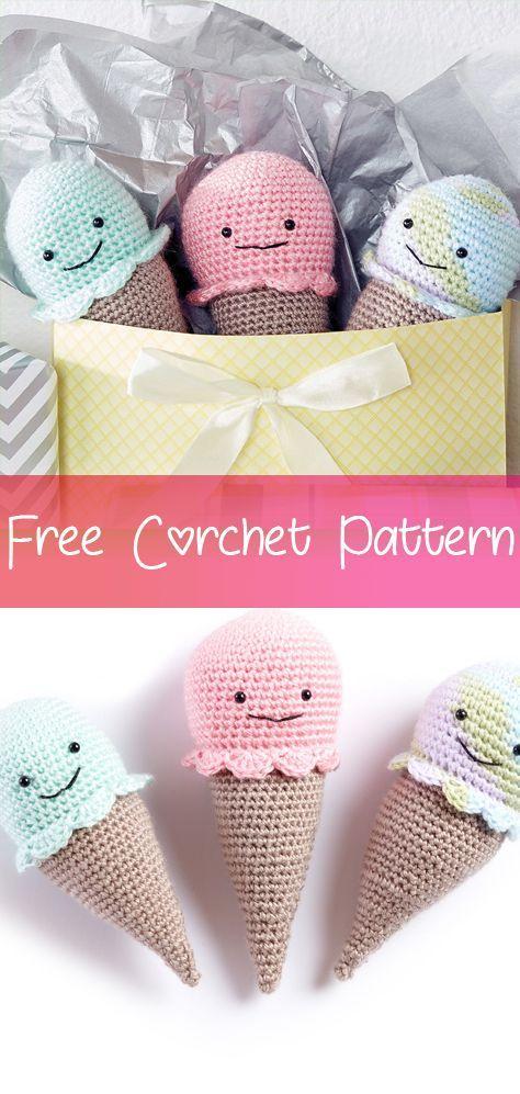 ice cream free pattern for everyone!! :D | Crochet amigurumi ... | 997x474