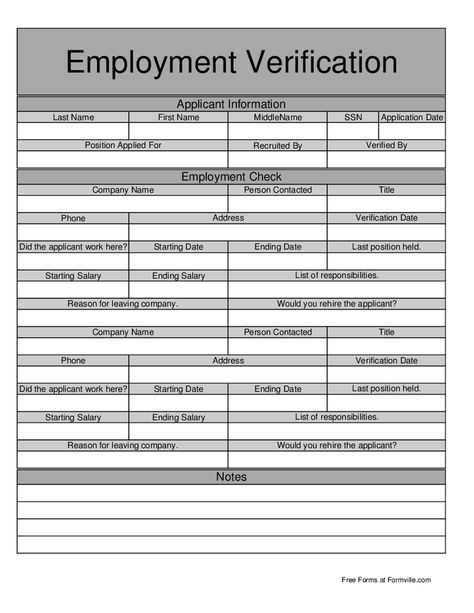 Employment Verification Form Employment Verification Letter
