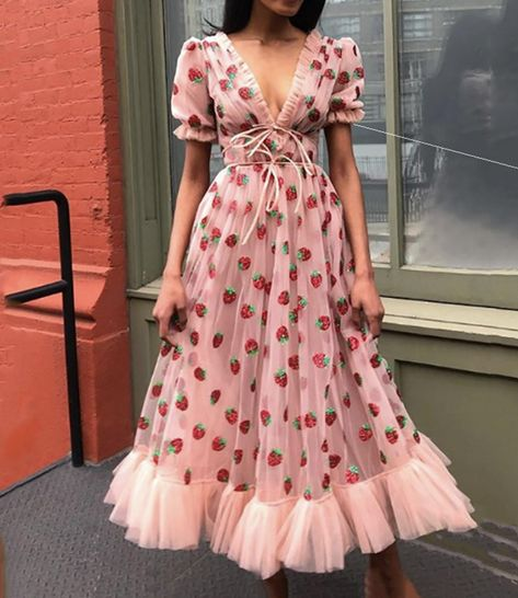 Cute tulle strawberry A line dress