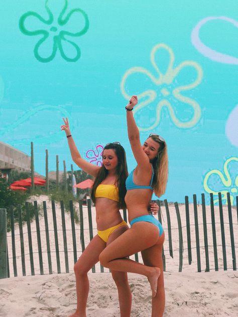 bff pic / vsco / edit / beach edit / bikini bottom / best friends / beach picture with friends / spongebob edit