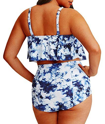 d7a494597c2 YONYWA Women Floral Plus Size Swimwear High Waisted 2 Piece ...