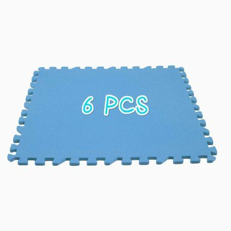 6 Pcs Eva Foam Floor Mat Exercise Gym Playground Carpet Durable Play Puzzle Portable Home Crawling Rugs Water Resistant Blue Foam Mat Flooring Durable Carpet