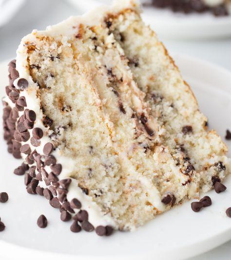 Chocolate Chip Cheesecake Cake recipe from RecipesForHolidays.com #chocolate #chip #chocolatechip #cheesecake #cake #recipe #RecipesForHolidays