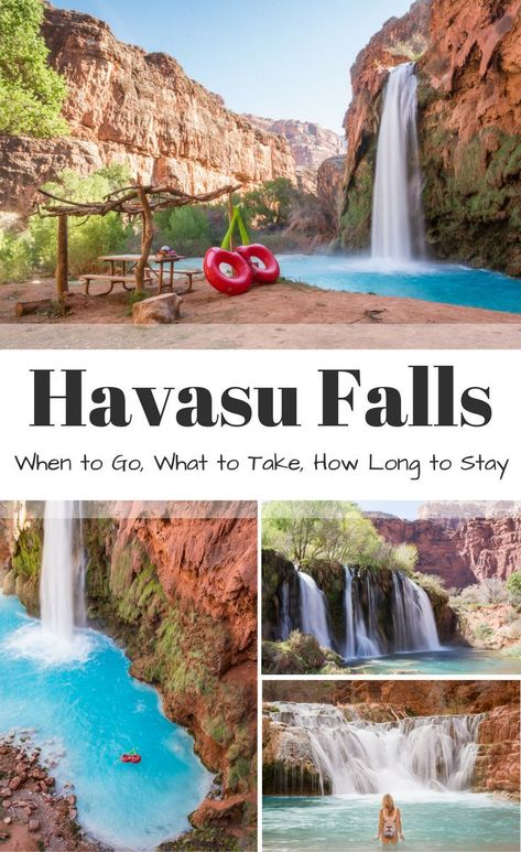 Guide to hiking to Havasu Falls in Arizona: When to Go What to Take How Long to Stay. Everything you need to know including Mooney Falls Beaver Falls Falls and Navajo Falls. Written by Wandering Wheatleys via Wandering Wheatleys Oh The Places You'll Go, Places To Travel, Vacation Places In Usa, Hiking Places, Places To Visit, Arizona Travel, Arizona Trip, Sedona Arizona, Supai Arizona