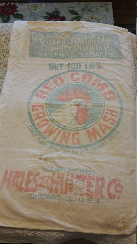 Vintage Feedsack Antique Feed Sack Rooster Chicken Mash
