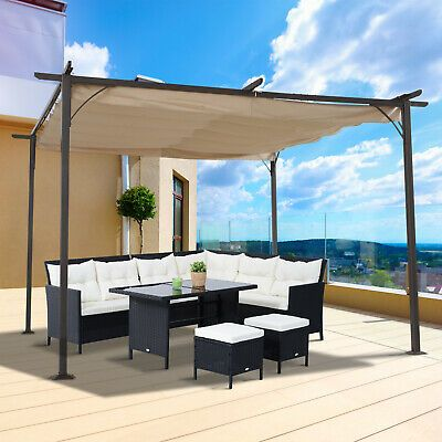 Outsunny 3 5x3 5m Pergola Metal Gazebo Backyard Porch Awning Retractable Canopy 5056029823217 Ebay In 2020 Pergola Patio Outdoor Pergola