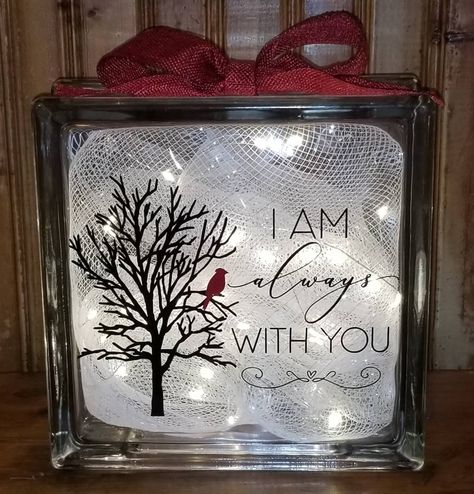 Excited to share the latest addition to my shop: I Am Always With You Memory Glass Block to frost a glass block craft ideas I Am Always With You Memory Glass Block Christmas Glass Blocks, Christmas Shadow Boxes, Christmas Wood Crafts, Christmas Signs, Christmas Projects, Christmas Diy, Christmas Mason Jars, Outdoor Christmas, Holiday Crafts