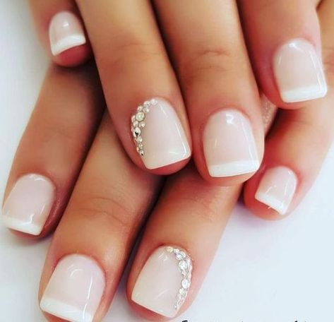 A pop of glimmer for your wedding day in the subtlest way. Nail Art at it's most delicate.   wedding nails bridal nails bride manicure nail glitter