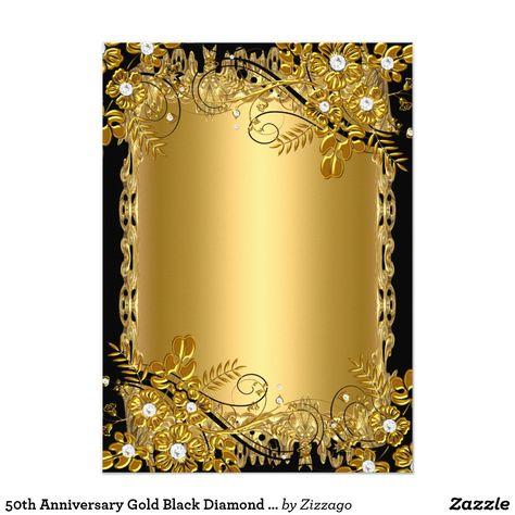 50. rocznica złoto Black Diamond kwiatów wirowa karty   Zazzle