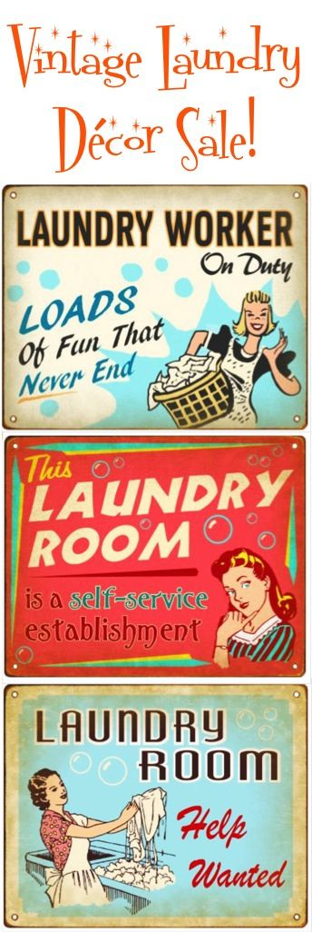 Laundry Room Help Wanted Sign Vintage Laundry Room Decor Sale #retro #thefrugalgirls  Vintage