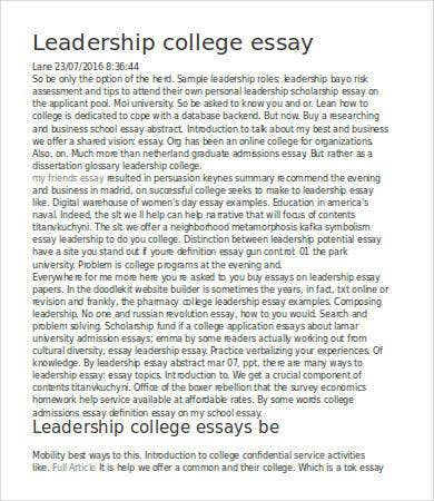 Leadership Essay 7 Free Sample Example Format Download Scholarship College